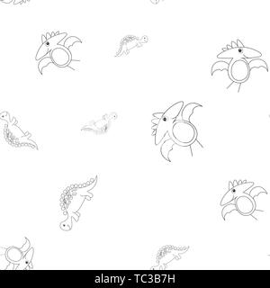 Seamless pattern of contour of dinosaurus stegosaurus and pterodactyl. Isolated on white background. Vector illustration. - Stock Photo