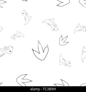 Seamless pattern of contour of dinosaurus tyrannosaur and footprint. Isolated on white background. Vector illustration. - Stock Photo