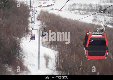 Changbai Mountain Ski Resort cableway - Stock Photo