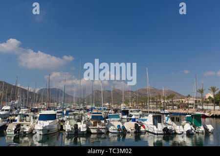 Cartagena Murcia Spain with boats in harbour - Stock Photo