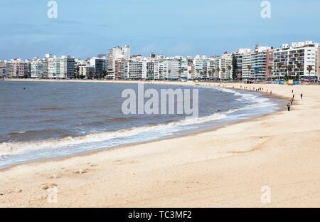 Sandy beach beach Playa Pocitos, city view, Montevideo, province Montevideo, Uruguay - Stock Photo