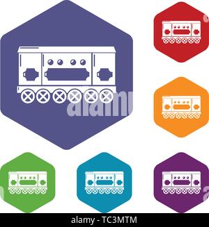 Compartment carriage icons vector hexahedron - Stock Photo