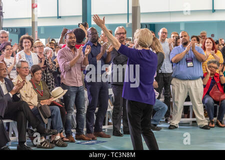 Detroit, Michigan - Senator Elizabeth Warren holds a 'community conversation' in Detroit as part of her campaign for the 2020 Democratic presidential  - Stock Photo