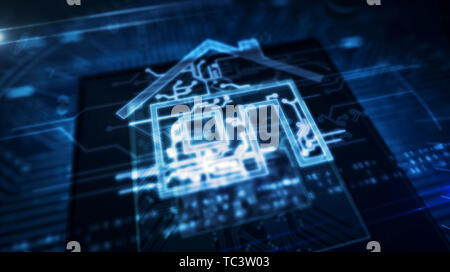 Smart home controlling concept with house hologram over cpu in background. Futuristic animation of iot, intelligent building and internet of things. C