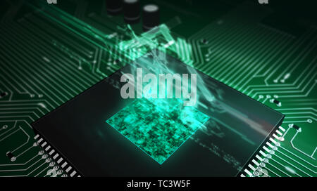 Smart home controlling concept with house hologram over cpu in background. Circuit board 3d illustration. Futuristic animation of iot, intelligent bui