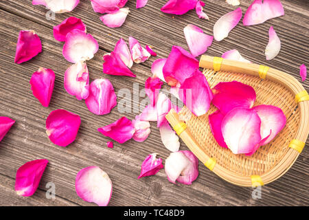 Red petal of rose on old plank - Stock Photo