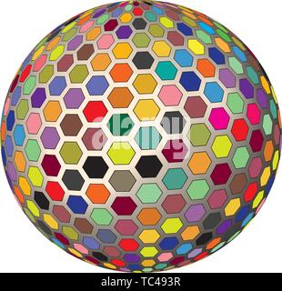 Colorful Geometric Comb Mesh 3D Render Globe Vector Background Illustration Artwork Isolated On White. Icon dimension : - Stock Photo