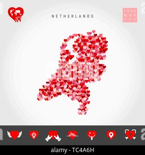 I Love Netherlands. Red and Pink Hearts Pattern Vector Map of Holland Isolated on Grey Background. Love Icon Set. - Stock Photo