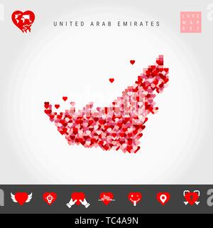 I Love Emirates. Red and Pink Hearts Pattern Vector Map of United Arab Emirates Isolated on Grey Background. Love Icon Set. - Stock Photo
