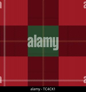 Red and green tartan plaid Scottish seamless pattern. Christmas and New year concept. Vector illustration. Texture from tartan, plaid, clothes - Stock Photo