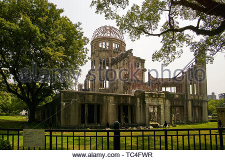 View of the fenced in Atomic Bomb Dome (Hiroshima Peace Memorial) in the Peace Memorial Park, Hiroshima, Japan. - Stock Photo