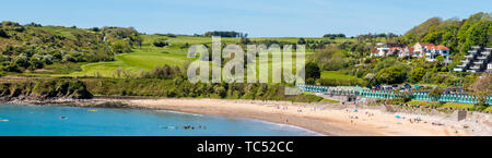 A panoramic view of Langland Bay beach and Golf Club,  on the Gower peninsula, Swansea, south Wales UK - Stock Photo