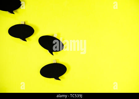 Wooden information label signs with black chalkboard empty place for text - Stock Photo