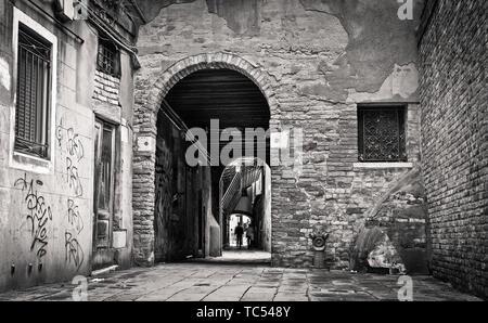 A backstreet in Venice, Italy. - Stock Photo