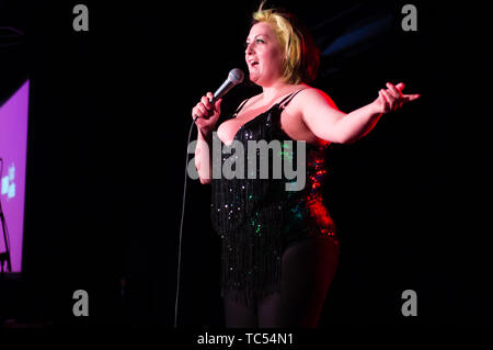 Kiri Pritchard-McLean , comedian, on stage at the  Machynlleth Comedy Festival  , May Bank Holiday Weekend, 2019 - Stock Photo