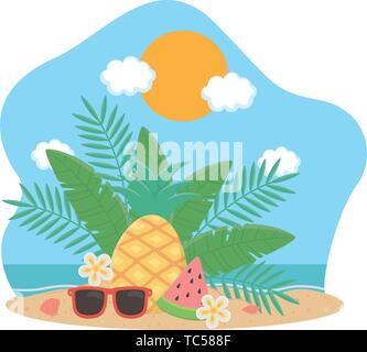 Summer and vacation icon set design, Beach tropical relaxation outdoor nature tourism island and season theme Vector illustration - Stock Photo