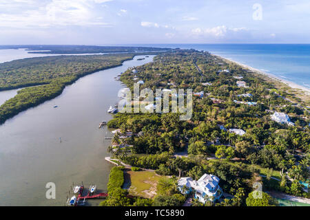 Captiva Island Florida Pine Island Sound Gulf of Mexico Roosevelt Channel Buck Key Preserve homes aerial overhead bird's eye view above - Stock Photo