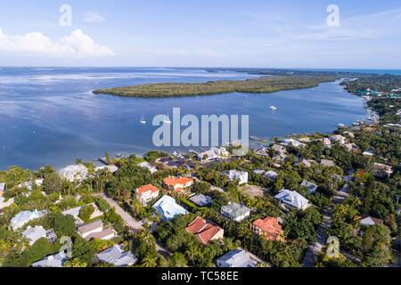 Captiva Island Florida Pine Island Sound Gulf of Mexico Roosevelt Channel Buck Key Preserve homes aerial overhead bird's eye view above - Stock Photo