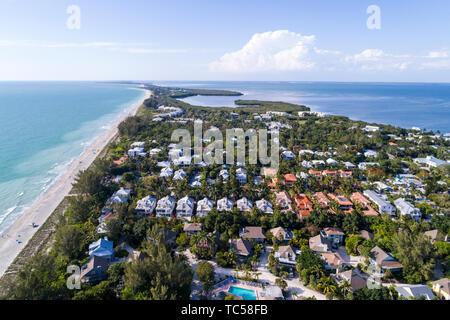 Captiva Island Florida Pine Island Sound Gulf of Mexico beach Chadwick Bayou homes aerial overhead bird's eye view above - Stock Photo