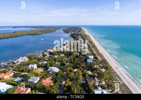 Captiva Island Florida Pine Island Sound Gulf of Mexico beach Roosevelt Channel Buck Key Preserve beach waves homes aerial overhead bird's eye view ab - Stock Photo
