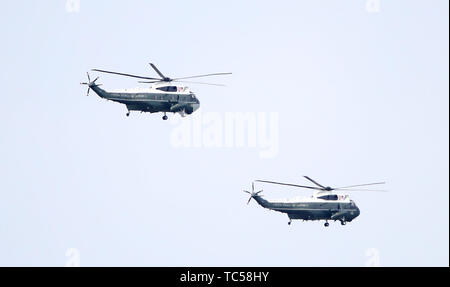 Marine One, carrying President Donald Trump, in flight over the Hampshire Bowl during the ICC Cricket World Cup group stage match at the Hampshire Bowl, Southampton. - Stock Photo