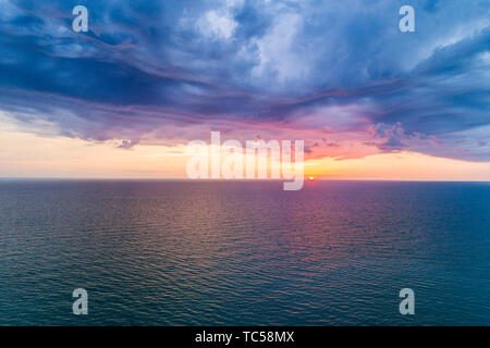 Captiva Island Florida Gulf of Mexico beach sunset clouds water sky aerial overhead bird's eye view above - Stock Photo