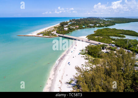 Captiva Island Sanibel Island Florida Gulf of Mexico Turner Blind Pass Beach Park Albright Island Key Preserve aerial overhead bird's eye view above - Stock Photo