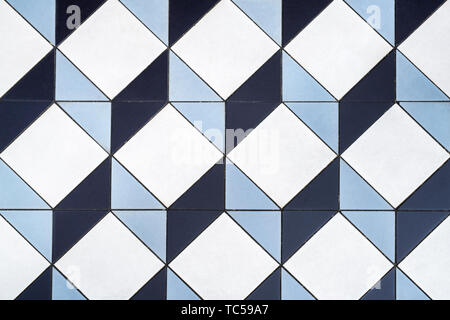 3D Cube Mosaic Tiles. Geometric three dimensional cube floor tiles. London, England - Stock Photo