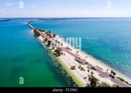 Sanibel Island Florida Causeway San Carlos Bay Causeway Islands Park aerial overhead bird's eye view above - Stock Photo