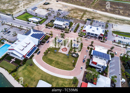 Babcock Ranch Florida aerial overhead bird's eye view above master planned community first solar-powered city network rooftop solar panels commercial - Stock Photo