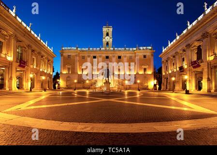 Palazzo Senatorio and Piazza Campidoglio on Capitoline Hill at dawn, Rome, Lazio Italy - Stock Photo