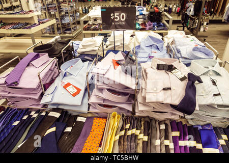 Miami Florida Midtown The Shops at Midtown Miami shopping Nordstrom Rack discount outlet display sale men's dress shirts ties - Stock Photo