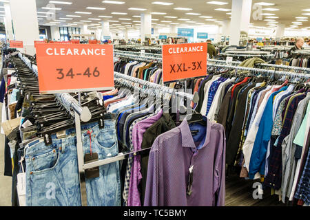 Miami Florida Midtown The Shops at Midtown Miami shopping Nordstrom Rack discount outlet display sale clearance men's shirts pants size - Stock Photo