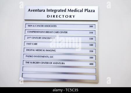 Miami Florida Aventura Integrated Medical Plaza Directory Surgery Center centre of Aventura healthcare - Stock Photo