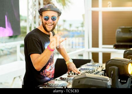 DJ Sebastian Bronk performing at beach club Starbeach, Recovery Pool Party, on 03. August 2018 - Stock Photo