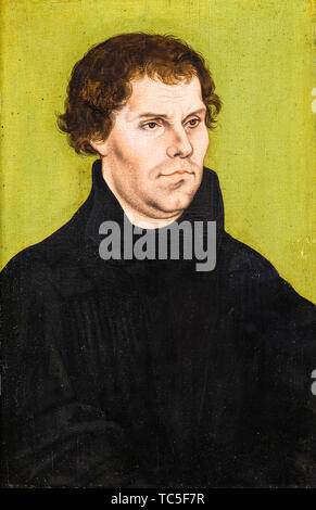 Lucas Cranach the Elder, Martin Luther, 1483-1546, portrait painting, 1527 - Stock Photo