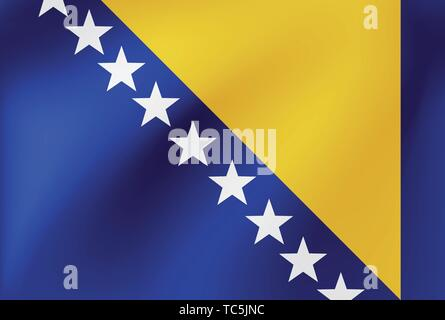 Vector national flag of Bosnia and Herzegovina. Illustration for sports competition, traditional or state events. - Stock Photo