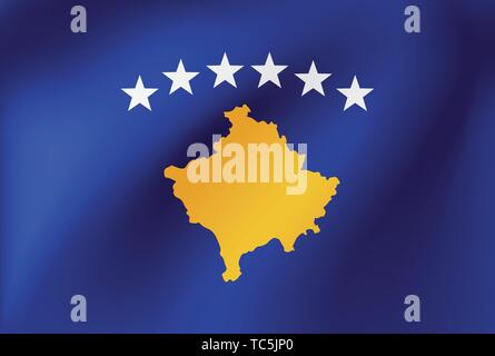 Vector national flag of Kosovo. Illustration for sports competition, traditional or state events. - Stock Photo