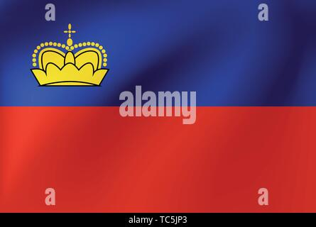 Vector national flag of Lichtenstein. Illustration for sports competition, traditional or state events. - Stock Photo