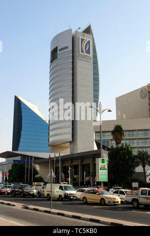 View of National Bank of Dubai building at Union Square Dubai United Arab Emirates - Stock Photo