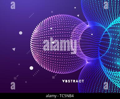 3D abstract molecular structure. Technology style for science, education, big data, visualization and artificial intelligence. Vector illustration.