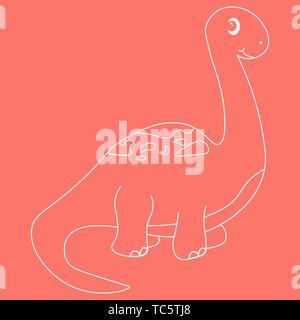 Contour of dinosaurus brachiosaurus. Isolated on pink background. Vector illustration. - Stock Photo