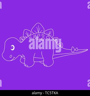 Contour of dinosaurus stegosaurus. Isolated on purple background. Vector illustration. - Stock Photo