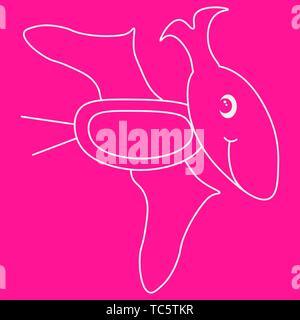 Contour of dinosaurus pterodactyl. Isolated on pink background. Vector illustration. - Stock Photo