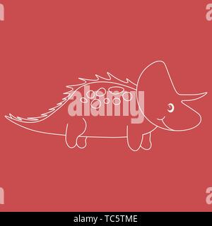 Contour of dinosaurus triceratops. Isolated on red background. Vector illustration. - Stock Photo