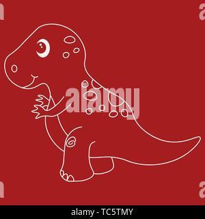 Contour of dinosaurus tyrannosaur. Isolated on red background. Vector illustration. - Stock Photo