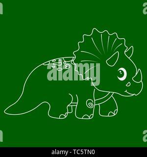 Contour of dinosaurus triceratops. Isolated on green background. Vector illustration. - Stock Photo