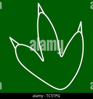 Contour of dinosaurus footprint. Isolated on green background. Vector illustration. - Stock Photo