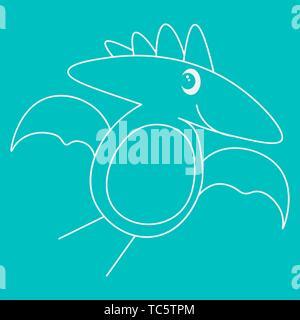 Contour of dinosaurus pterodactyl. Isolated on turquoise background. Vector illustration. - Stock Photo