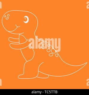 Contour of dinosaurus tyrannosaur. Isolated on orange background. Vector illustration. - Stock Photo